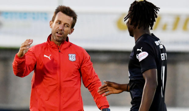 Neil McCann, left, with one of his new signings Jean Mendy.