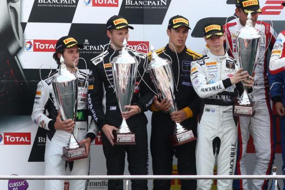 Sandy Mitchell (right) enjoys the Spa podium celebration