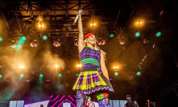 Rita Ora on stage at Slessor Gardens.