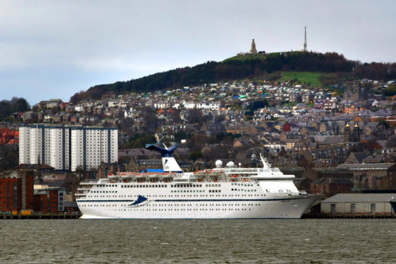 The cruise ship Magellan docked in Dundee in April 2018