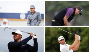 Golfing stars practising in Carnoustie ahead of the Open.