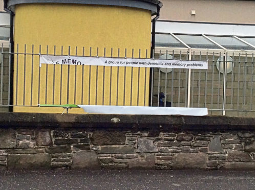 The Carnoustie Golf Memories group banner outside the Kinloch centre has been trashed by vandals