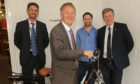 Picture (l-r): Paul Lewis, managing director, international operations at Scottish Enterprise; Minister for Trade, Investment and Innovation, Ivan McKee; Ian Byrne, Regional Manager, Cyclotricity; Cllr. Altany Craik, Fife Council