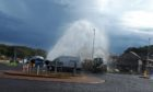 "The burst water main caused a ""fountain"" to form on a Carnoustie road."