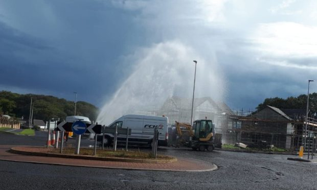 """The burst water main caused a """"fountain"""" to form on a Carnoustie road."""