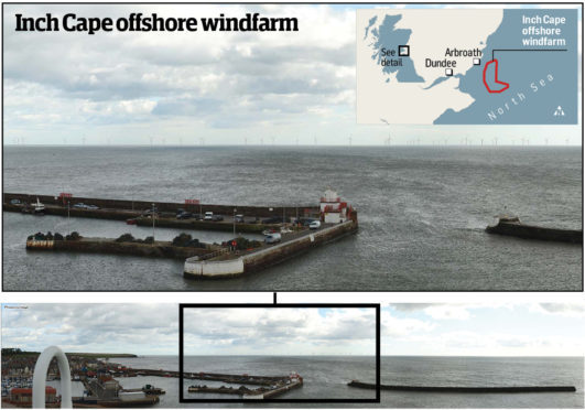 An impression of how the proposed Inch Cape array may look from the Signal Tower at Arbroath Harbour with, inset, a map showing the location of the Inch Cape development zone.