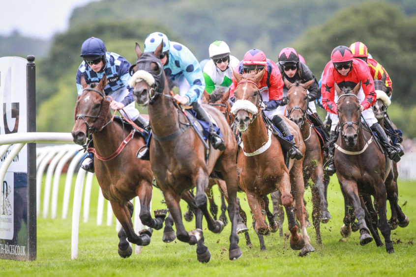 Action under way at Perth Races in 2018.