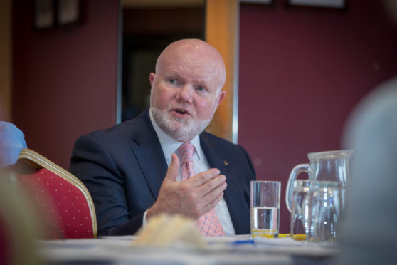 Colin Beattie during a Scottish Parliamentary visit to the Caledonian Hotel, Leven.