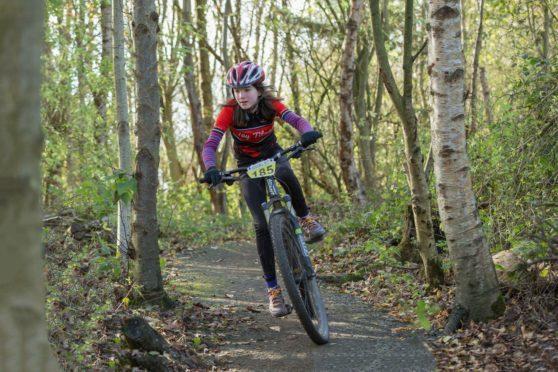 Maisie racing at Lochore Meadows.