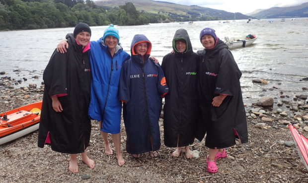 Liz Stevens, Helen Cole, Theresa Elliot, Ishbel Hayes and Angela Steel  at the end of their swim.
