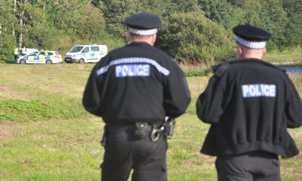 Police at the scene near Marykirk.