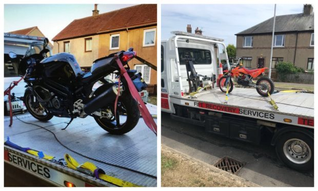 Two of the bikes seized by Levenmouth police.