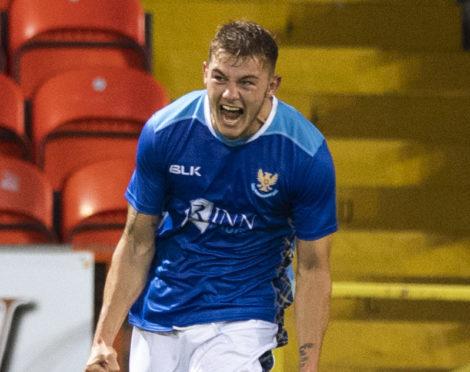 Callum Hendry celebrates one of his goals against Dundee United.