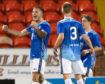 Callum Hendry celebrates his second goal against Dundee United.