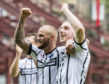 Kallum Higginbotham celebrates at Tynecastle a year ago.