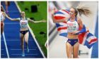 Laura Muir (left) and Eilish McColgan (right) celebrate their wins.