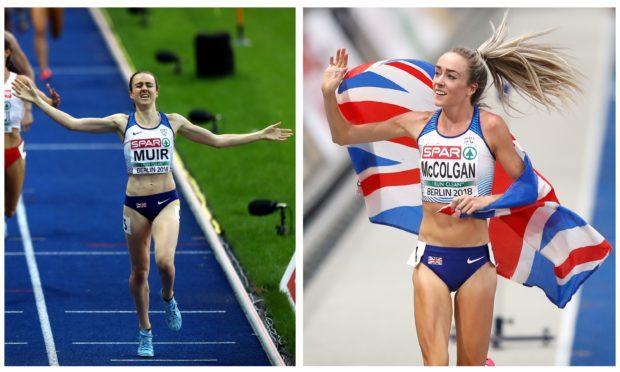 Laura Muir (left) and Eilish McColgan (right) celebrate their wins.