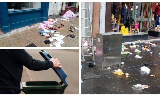 Rubbish in Perth city centre/a recycling bin.
