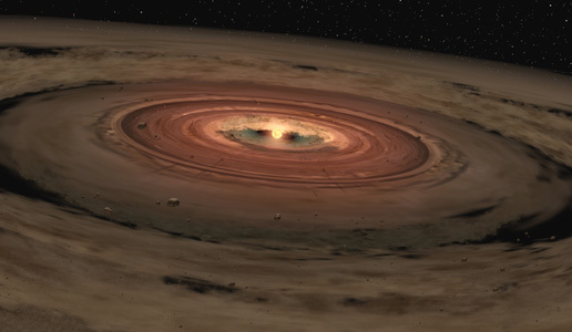 Artist's impression of a very young star surrounded by a disk of gas and dust. Scientists suspect that rocky planets such as the Earth are formed from these materials