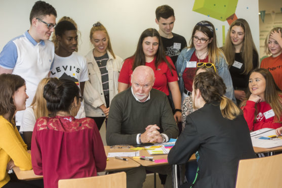 Sir Tom Hunter speaks to youngsters at Abertay University