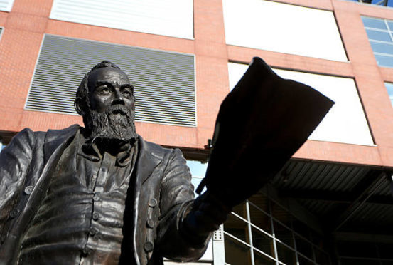 A statue of William McGregor, founder of the football league at Villa Park stadium, home of Aston Villa.