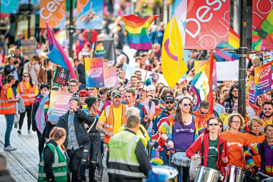 The Dundee Pride parade making its way to City Square on Saturday September 22.
