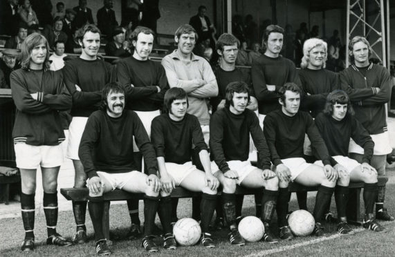 Jimmy Cant and John Fletcher pictured in the legendary 1973 team line up.  From left Reid, Milne, Rylance, Marshall, Murray, Carson, Fletcher, Donald; front, Sellars, Cant, Pirie, Penman and Yule.
