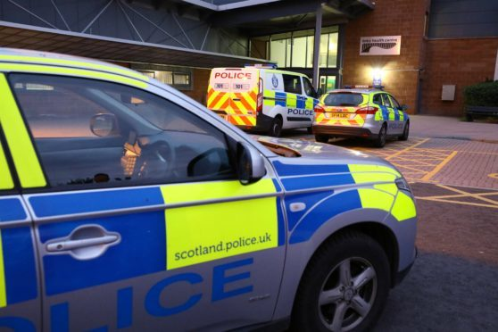 Police vehicles at the Links Medical Centre in Montrose on Wednesday night