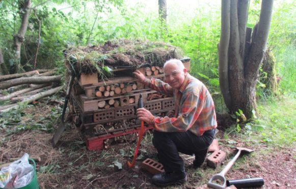 Fife Coast and Countryside Trust hosts family fun days such as this one at Birnie Loch. where Bill Dowie showed off his bug hotel.