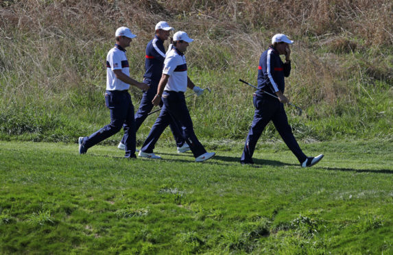 Bryson DeChambeau, Tiger Woods, Patrick Reed and Phil Mickelson (l to r) during the first day of practice at Golf National.