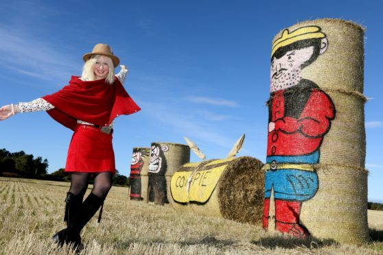 Fleur Baxter with this year's hay bale art.