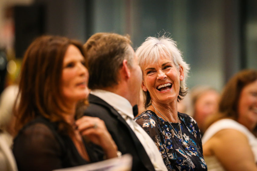 Judy Murray bidding in the auction in the V&A Dundee.