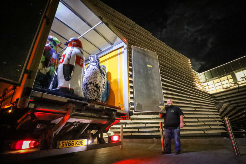 The penguins loaded and ready to leave after the auction in the V&A Dundee.