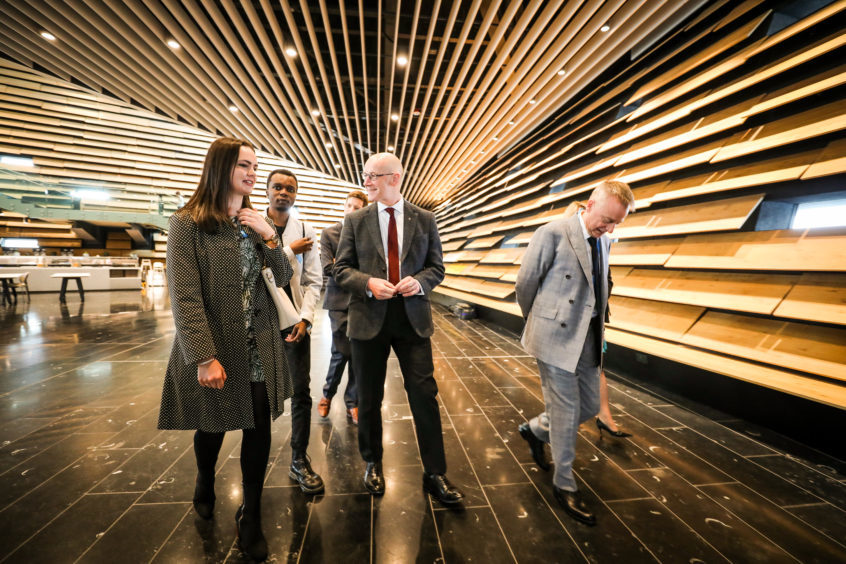 John Swinney MSP talking to people getting first public tour of V&A Dundee. Friday, September 14.