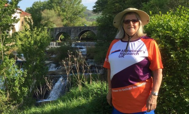 Olive Munro, who was diagnosed with vascular dementia around three years ago, and who walked the Camino de Santiago, or Way of St James, route through France and northern Spain with her husband, Ronnie to raise £2700 for Alzheimer's UK