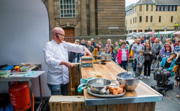 National chef Gary McLean launches the Great Perthshire Picnic in Perth city centre.