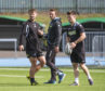 06/09/18  SCOTSTOUN - GLASGOW   Glasgow Warriors Peter Horne (left) and George Horne (right) with Warriors kicking coach Mike Blair (centre) at training