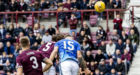 Hearts Peter Haring (5) opens the scoring.