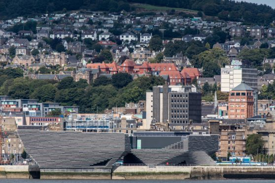 The iconic V&A Dundee viewed from across the Tay in Newport