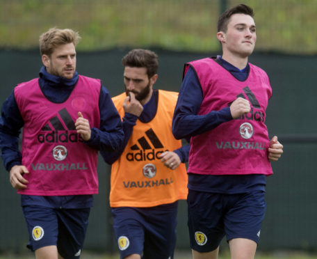 Stuart Armstrong and John Souttar at Scotland training.