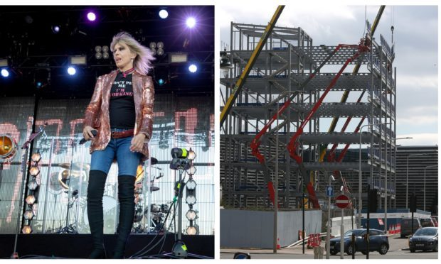 Pretenders singer Chrissie Hynde on stage at Slessor Gardens/the controversial office block.