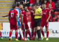 Mikey Devlin's sending off was a controversial one.