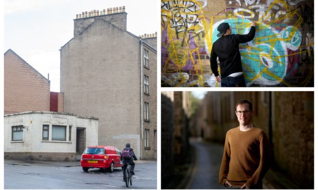 The wall pictured, left, will be the location of the new Dundee mural. Right shows Russel Pepper and a graffiti artists at work in Dundee.