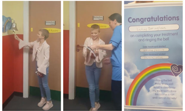"""Lily Douglas rings the """"end of treatment"""" bell at Ninewells Hospital"""