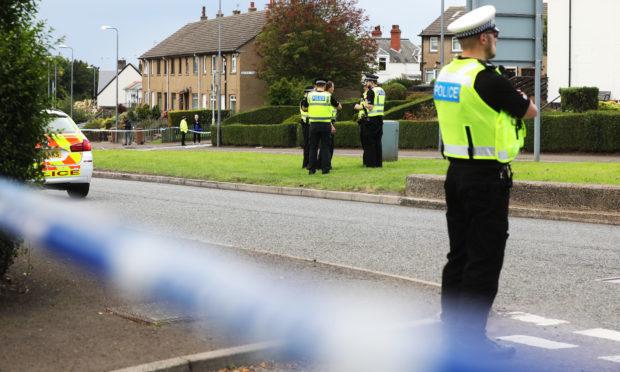 Police at the scene, Craigie Avenue.