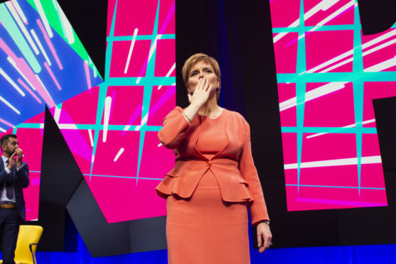 Nicola Sturgeon makes her keynote speech at the 84th annual SNP conference at the Scottish Exhibition and Conference Centre in Glasgow.