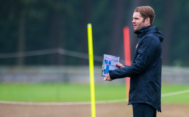 Robbie Neilson takes training at St Andrews.