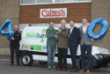 Caltech Lifts founder Howard Renwick (3rd right) hands over the keys for the new van to Dundee Foodbank Warehouse Coordinator, Michael Calder, watched by (from left) Murdo Macintosh, Andrew Renwick and Fraser Renwick.