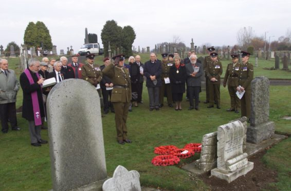 A 2003 remembrance service at Cupar cemetery in memory of Charles Jarvis of the Royal Engineers