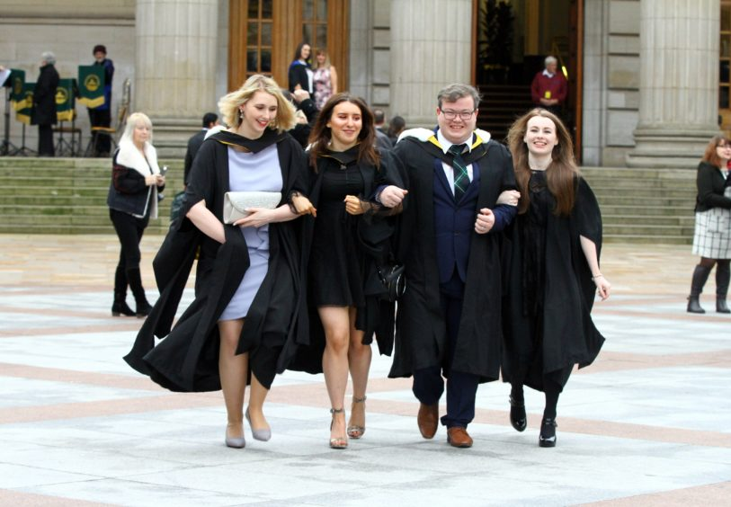 Hannah Armstrong, Rachael Watt, Thomas Turner and Abigail Graham, all from Dundee, graduate in nursing.